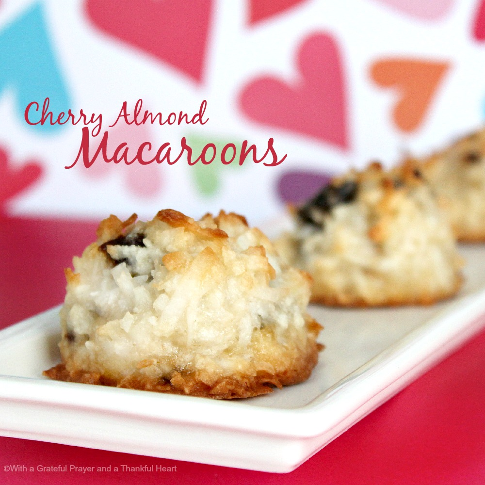 Easy recipe for Cherry Almond Macaroons that are a lighter take on coconut macaroons. They are are soft and chewy with a touch of almond.