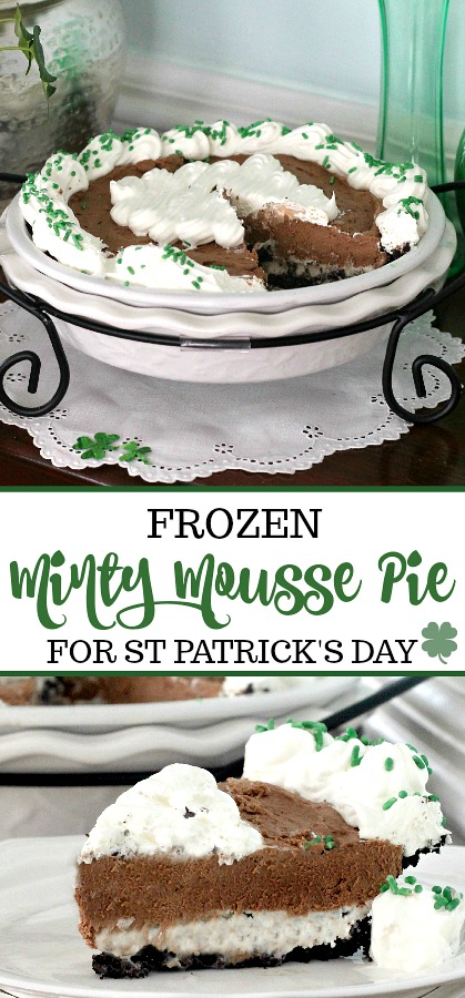 A layer of ice cream with chocolate chips and a layer of chocolaty mousse in a chocolate graham cracker pie crust make up this delicious Frozen Minty Mousse Pie. A great dessert recipe for St. Patrick's Day.