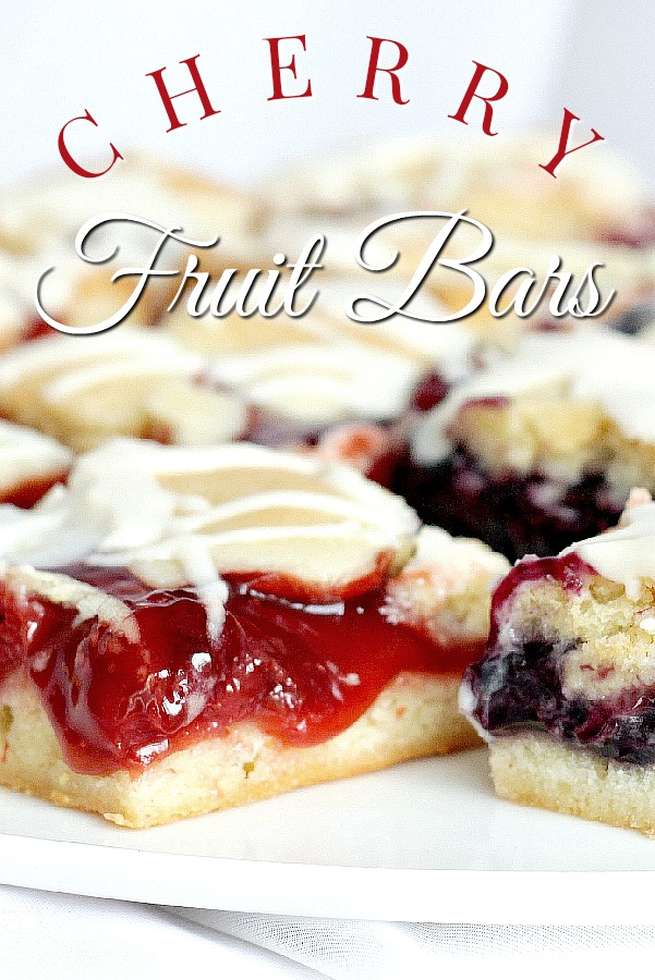Cherry or blueberry fruit bars are easy and quick to prepare, bake in a sheet pan and are so pretty and appealing. Perfect for breakfast and dessert.