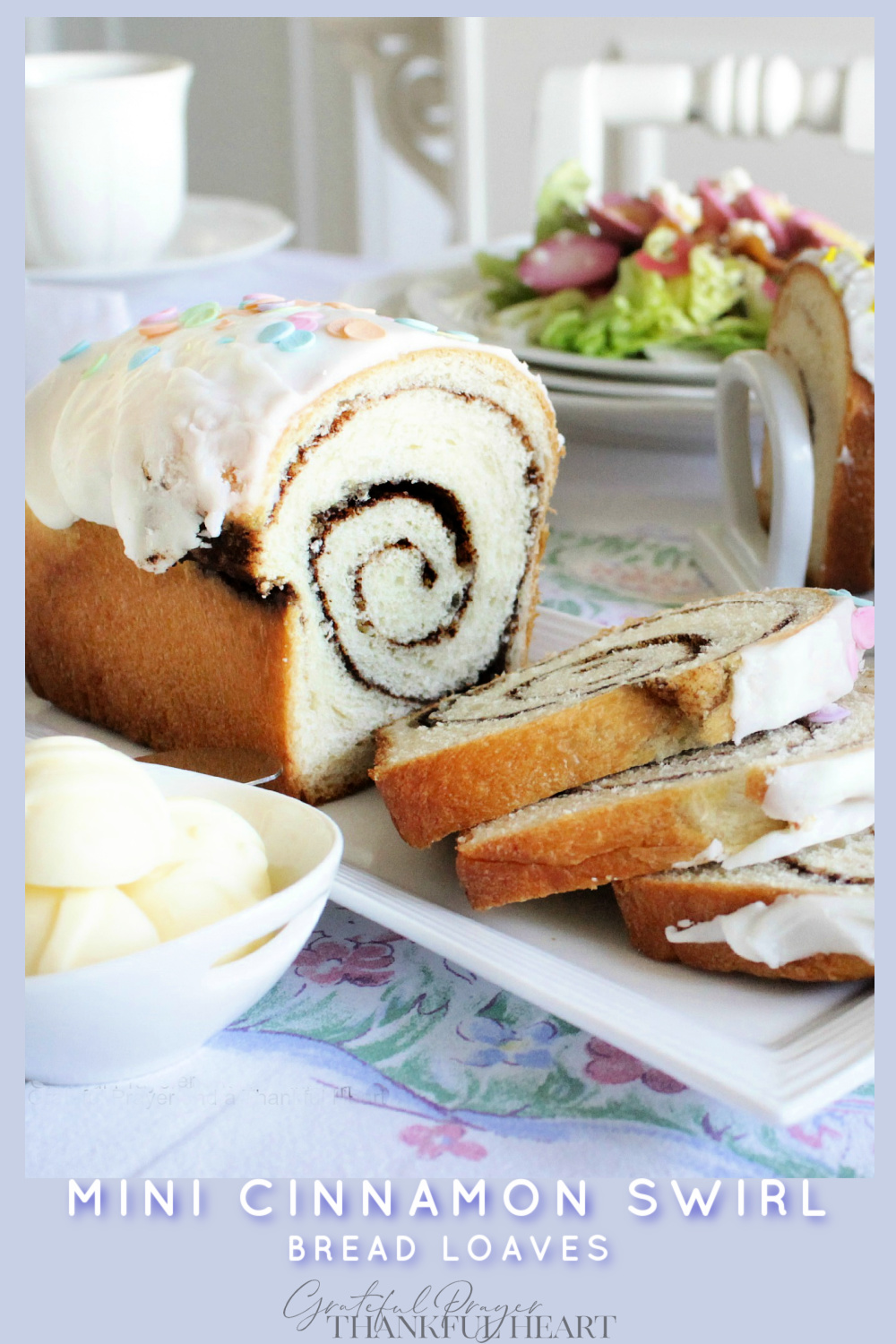 A vintage Chic Easter dinner for two includes an easy recipe for mini cinnamon swirl bread loaves.