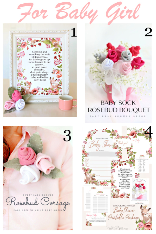 Sweet little baby girl wall art Babies Don't Keep poem print, Baby sock bouquet, corsage and posy tutorial and Baby shower planner.