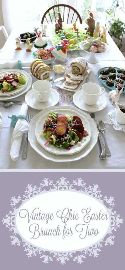 A lovely Vintage Chic Easter Brunch for Two includes a menu of pickled beet eggs, salad with raspberry balsamic dressing, frosted cinnamon swirl bread, coconut buttercrean Easter eggs with lovely crochet pieces and vintage table linens.