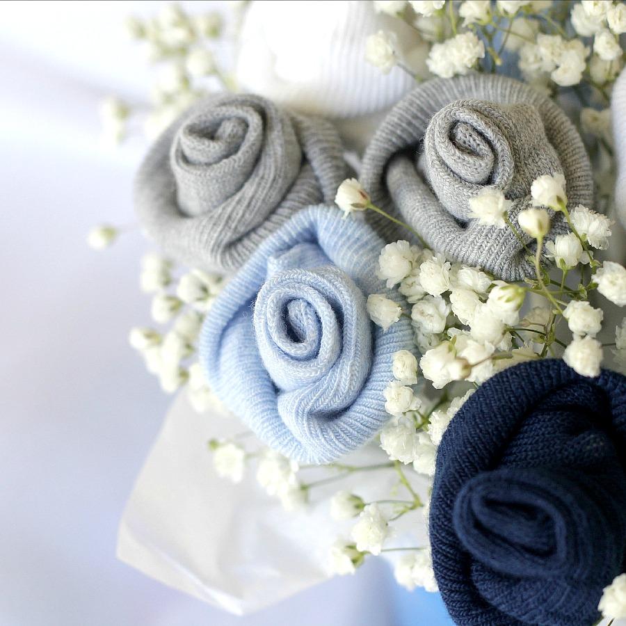 Baby Socks Rose Bud Flower Bouquet | Grateful Prayer | Thankful Heart