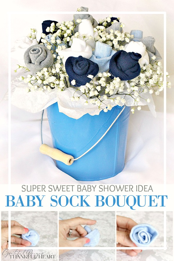 Sweet baby shower decoration made with little socks. Easy to make baby sock rosebud bouquet is a perfect gift to take to a new mom as she welcomes her newborn. How-to tutorial is easy to follow simple by rolling socks into a flower.
