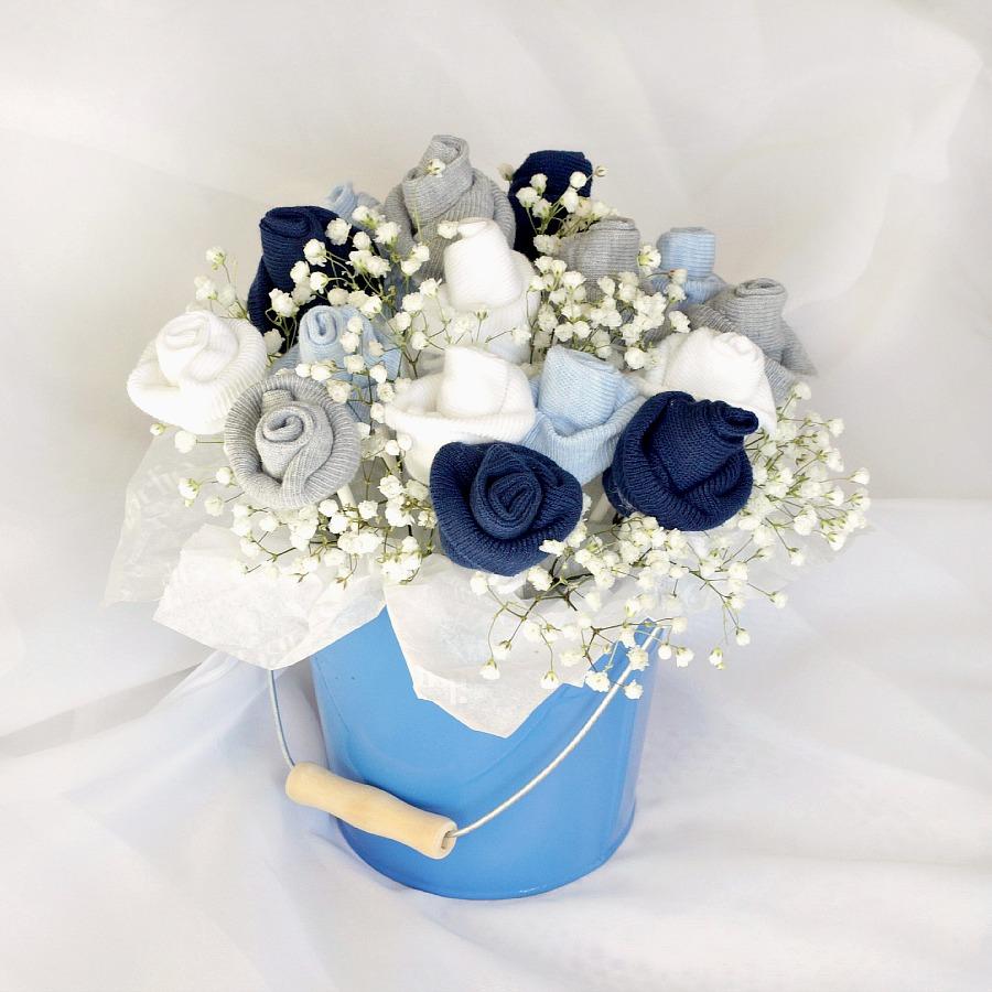 baby socks rose bud flower bouquet