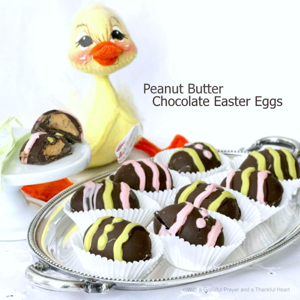 Make your own peanut butter chocolate Easter eggs. A shell of chocolate surrounds a center of creamy, sweetened peanut butter. Use a candy mold or mini muffin tins lined with paper liners. Easy, fun and so much better than store bought candy.