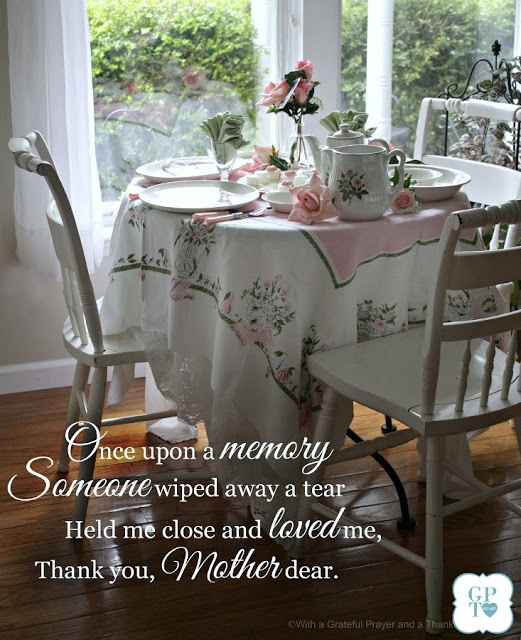 Once Upon a Memory Mother's Day Vintage tablescape and Brunch menu.