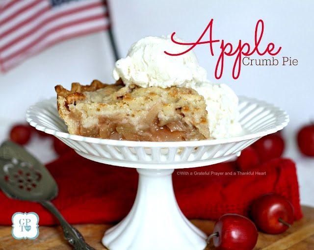 Easy Recipe for Old-fashioned Apple Crumb Pie. Serve with a scoop of vanilla ice cream at your 4th of July celebration. FREE Pledge of Allegiance printable.