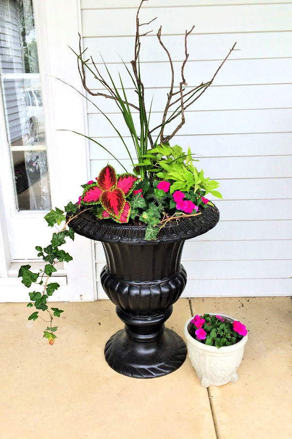 Redoing a garage sale urn was a DIY project that resulted in a beautiful, farmhouse style porch planter for spring garden flowers with lots of curb appeal. Shade loving annual coleus does exceptionally well.