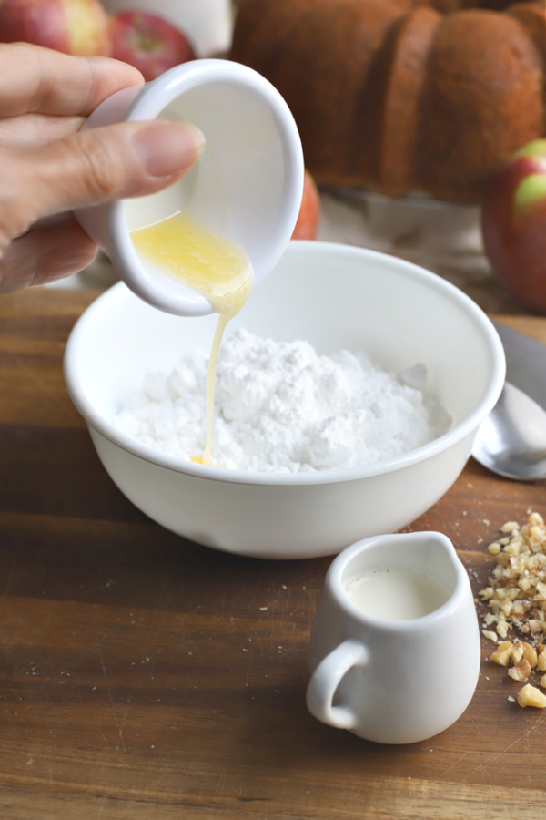Making glaze for apple walnut Bundt cake