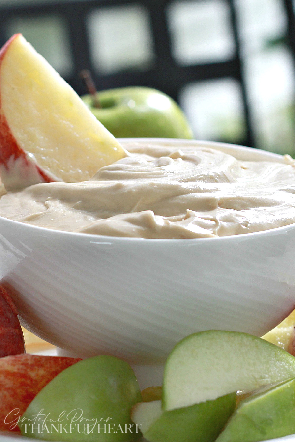 Easy recipe for Cream cheese apple dip is a perfect way to enjoy crisp, Autumn apples. Just three ingredients mixed together for a healthy snack.