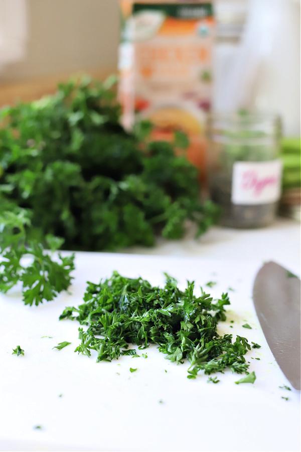 Chopping fresh parsley