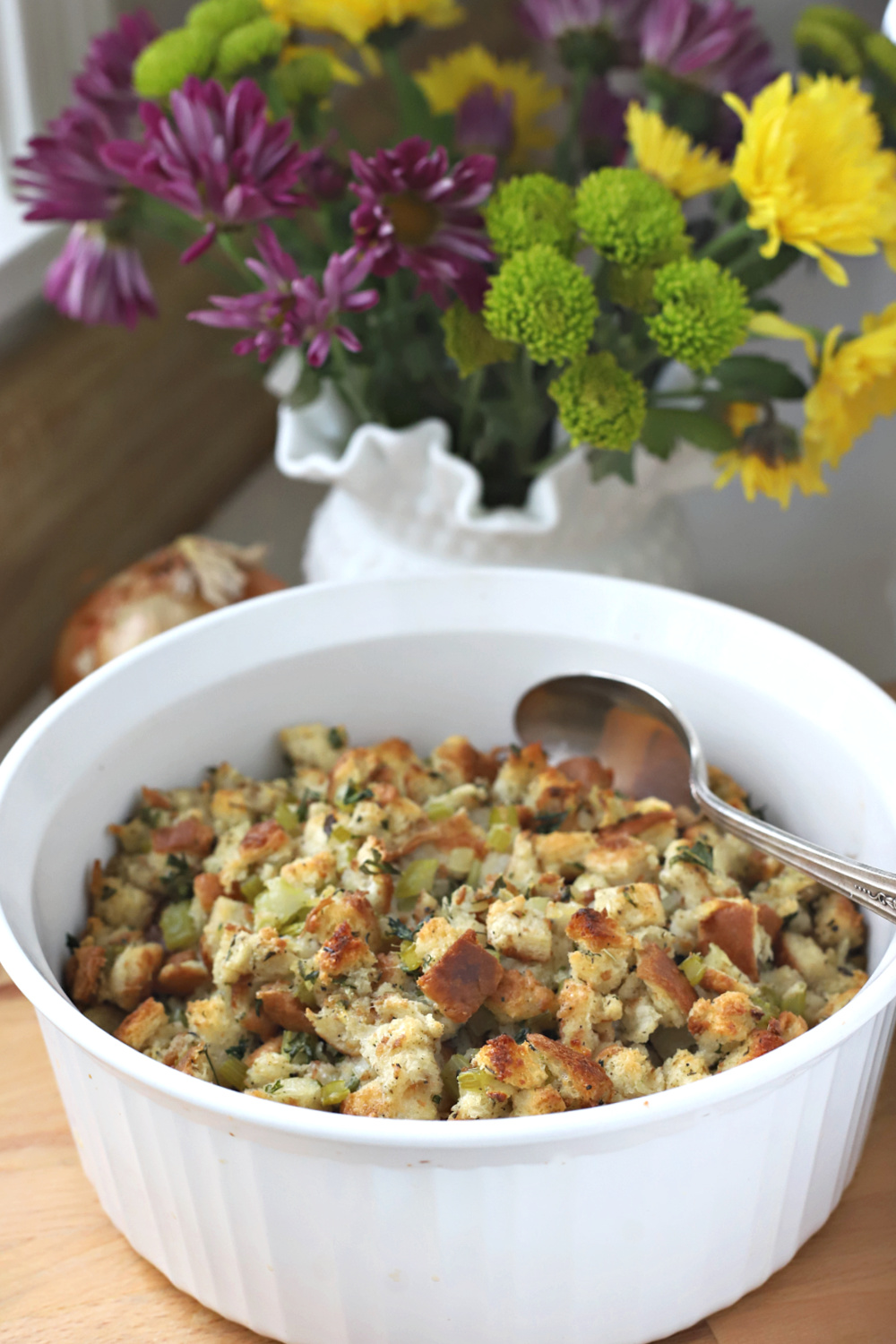 Whether you call it stuffing or filling, this easy recipe for Old Time Stuffing is full of flavor and a perfect side to compliment your Thanksgiving day turkey dinner.