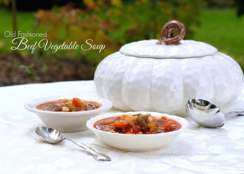 Easy and delicious recipe for old fashioned beef vegetable soup that freezes well. Lots of veggies, chunks of beef and tender pasta is perfect served with buttermilk biscuits.