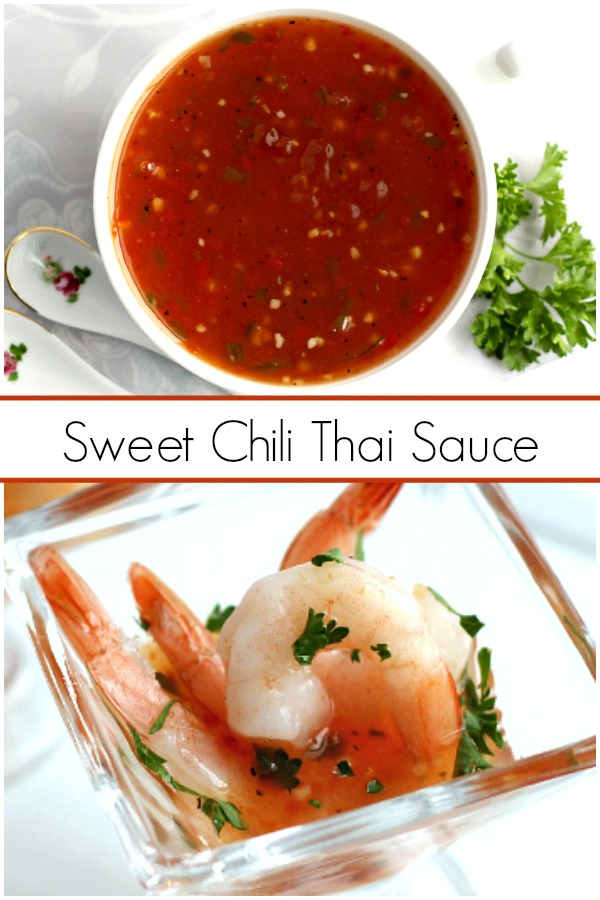 Hosting a New Year's Eve or holiday cocktail party?  Serve Sweet Chili Thai Sauce with Shrimp Appetizer. It is festive and delicious. Quick and easy recipe!
