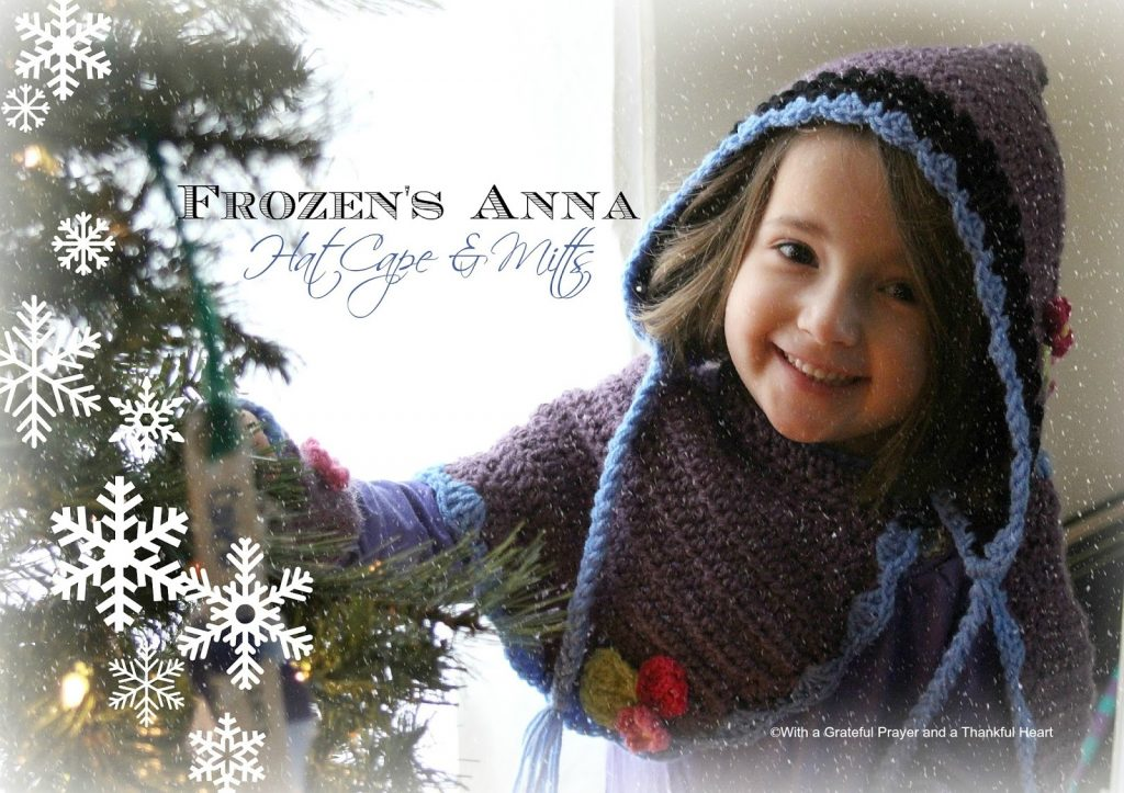Little girls love Disney and they love dress-up. Crochet this sweet FROZEN Princess Anna Hat, Cape & Mitts. Pattern for mitts in post with links for cape and hat.