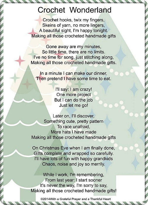 Fun Crochet Wonderland Christmas poem Free printable crafters will relate to during this busy holiday season.