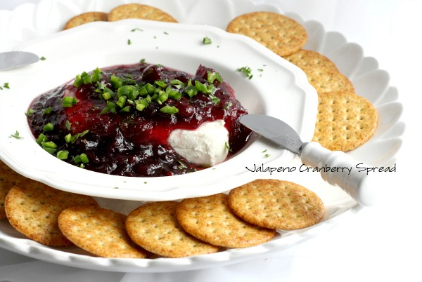 You and your guests will love Jalapeno Cranberry Spread. Quick and easy recipe and a perfect appetizer for holiday entertaining or Super Bowl watching with friends.