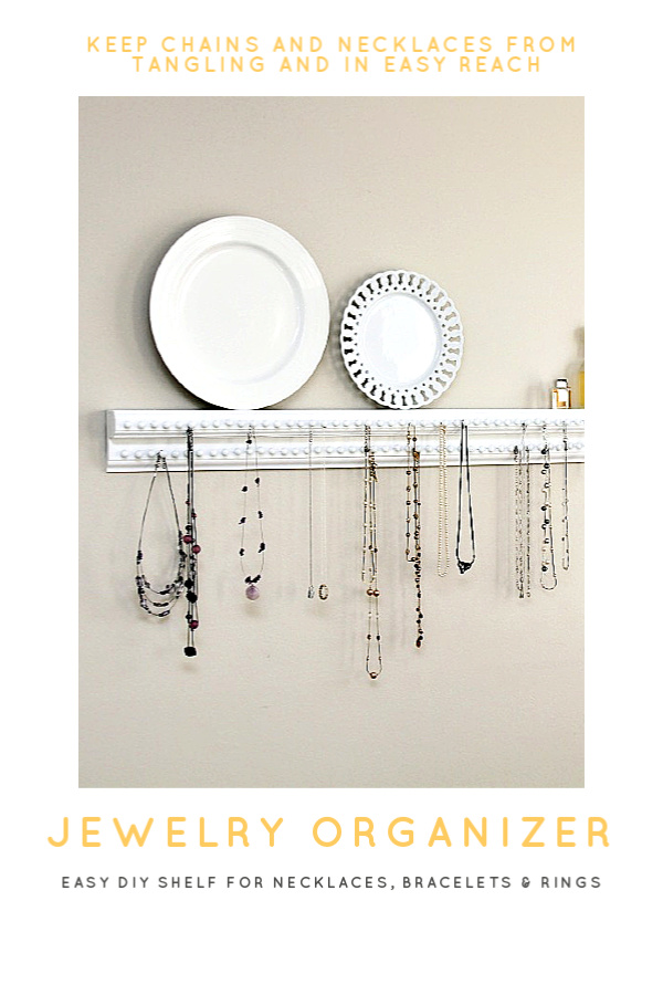 Keep you necklaces, bracelets and rings organizer and tangle free with and easy DIY craft project. A wall shelf with plenty of hooks to keep jewelry neat and within easy reach.