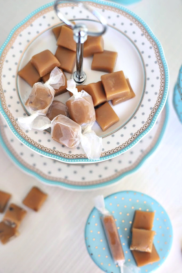 Super easy recipe for making soft, chewy and delicious caramels. Just a few minutes in the microwave then pour into a dish and cool. Cut into pieces and enjoy. A lovely holiday gift-giving treat!