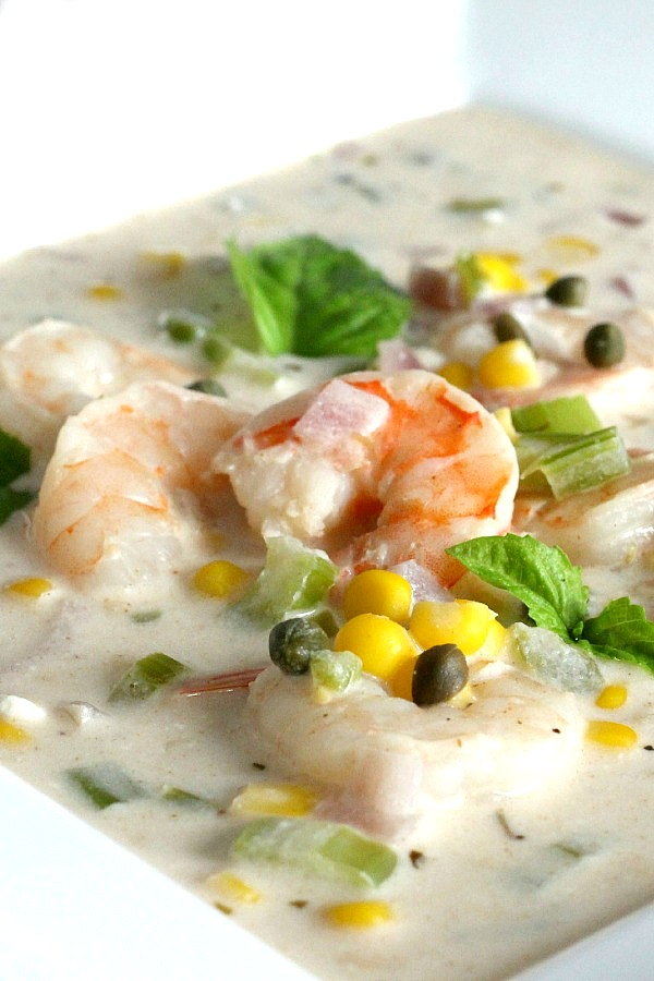 Easy recipe for Shrimp and Corn Chowder brimming with crisp corn, celery, bell pepper and onion in a delicious creamy broth.