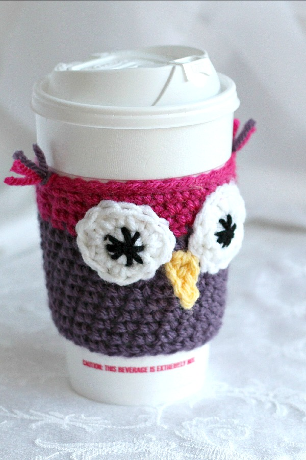 Crochet Beverage Cup Jackets are both adorable and useful for protecting your hands from containers filled with hot beverages. Easy pattern and variations.