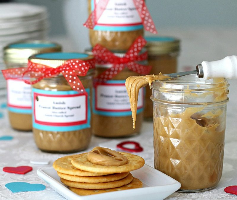 Easy to make recipe for Amish Peanut Butter Spread. Sweet, creamy and great on bread, toast, crackers and apple slices.