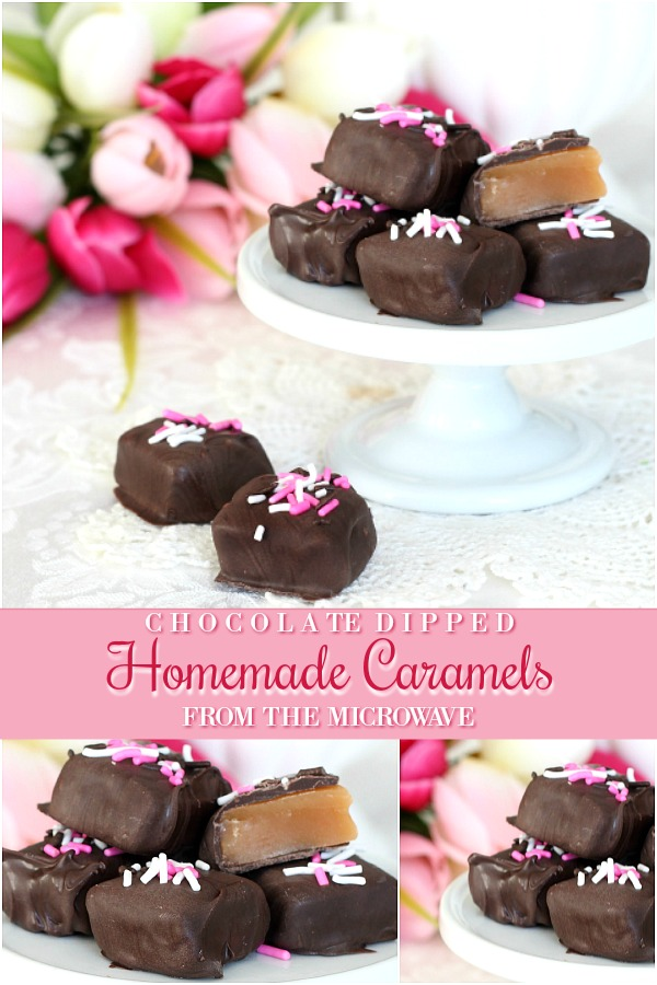 Delicious Chocolate dipped Caramels made easy in the Microwave for a special Valentine's Day gift.