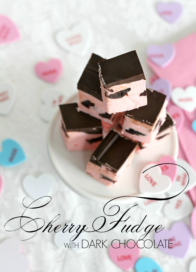 Cherry Fudge with Dark Chocolate is decadent with bits of dried cherries and topped with dark chocolate. Something this amazing should be difficult to make but not so with this easy recipe. Make a batch for someone you want to impress this Valentine's Day.