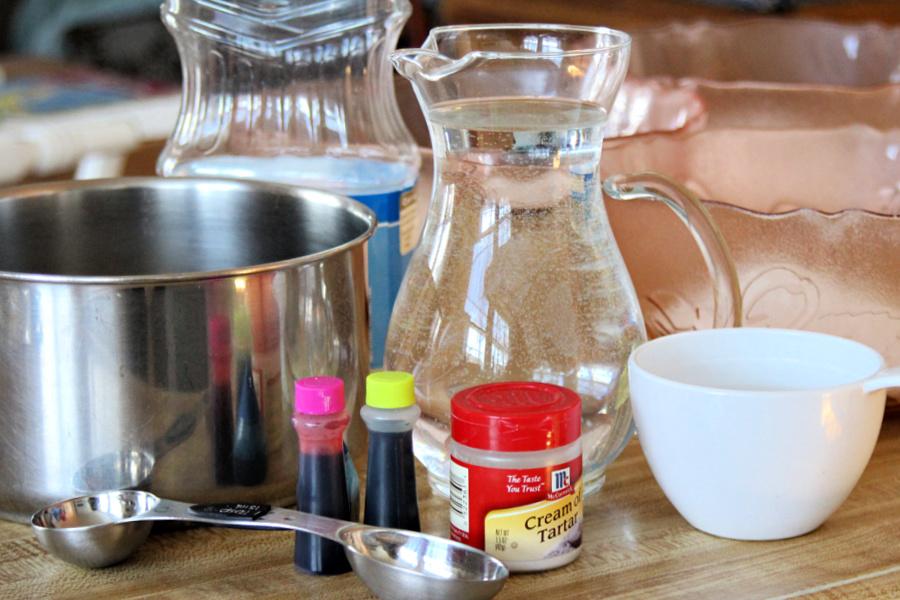 ingredients for making homemade playdough recipe