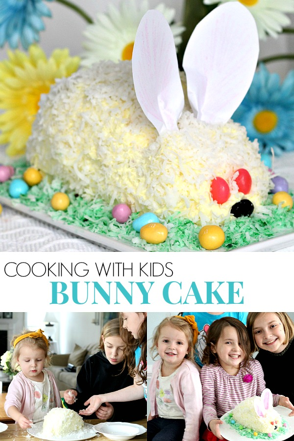 Make this adorable Easter bunny cake easily using a box cake and frosting (either homemade or from a tub). Our girls had the best time assembling it and were overjoyed with their finished creation. Truly a fun cooking with kids activity and a lovely Easter dessert. It looks super cute on the holiday table.