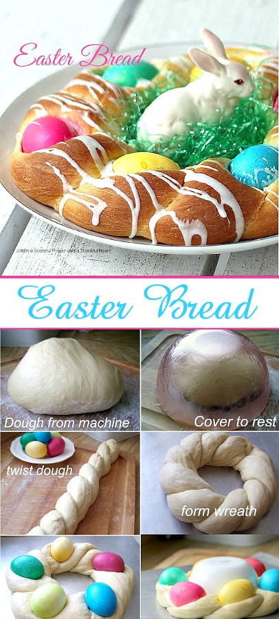 A beautiful Easter egg braided yeast bread tastes delicious and is so pretty with dyed eggs tucked into the braided ring then drizzled with a light glaze. Easy recipe using a bread machine to make the dough.
