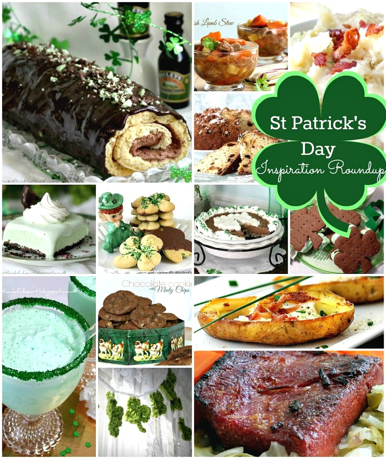 All you need for celebrating St Patrick's Day with a Roundup of Ideas for appetizer, entrees and sweet treat dessert. Festive Irish Cream Cake, Lamb Stew, Irish Soda Bread, buttery cookies, Frozen Minty Mousse Pie, Shamrock Milkshake, Corned Beef Brisket, and Potato Skins plus more. Scroll through and get ready to party!