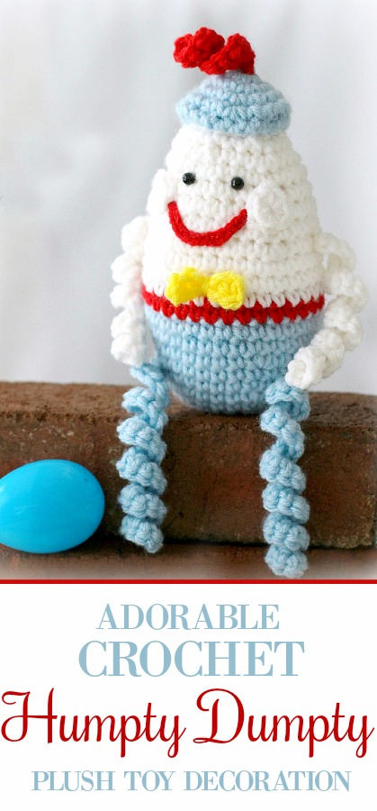 This happy little Crochet Humpty Dumpty Egg is made using a modified version of my Easter Egg pattern. He certainly doesn't fit in to an Easter decorating theme, but he does make a cute baby toy, baby shower decoration or gift topper.