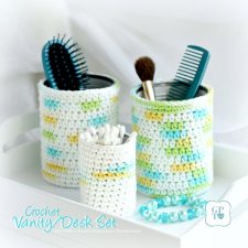 Desk or Vanity Crocheted Covers for Jars and Cans