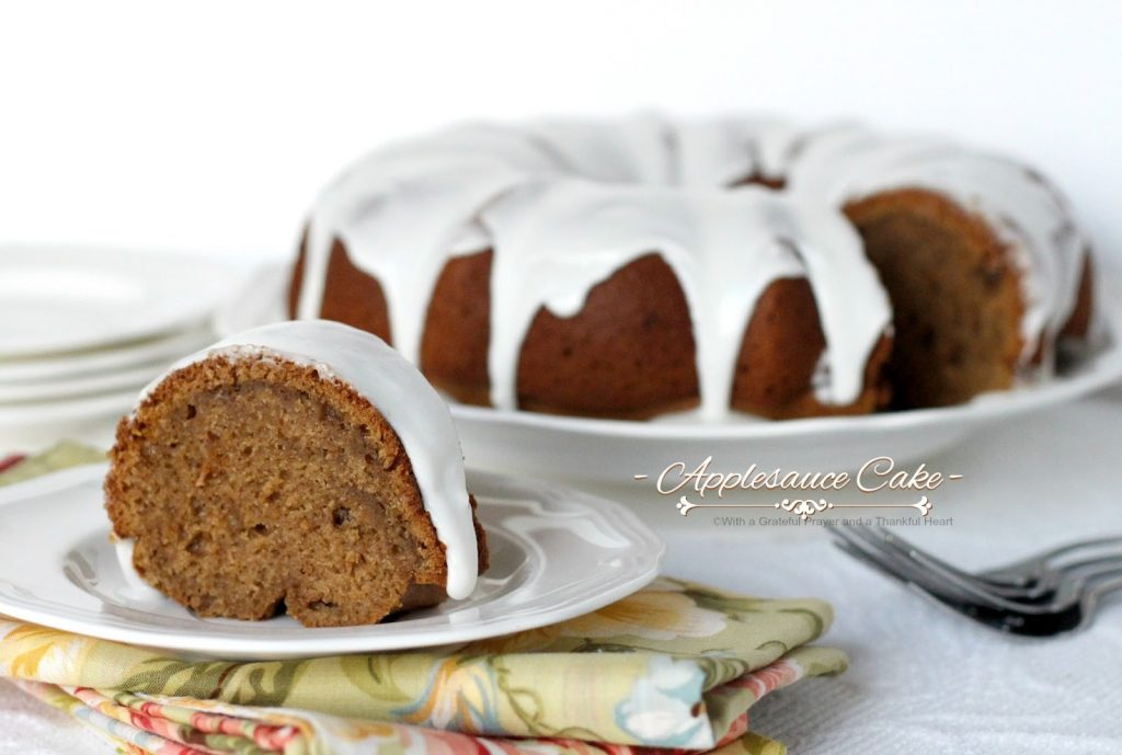 Old fashioned applesauce cake from Grandmom's vintage recipe. Made with apples, cinnamon and cloves filling the house with wonderful autumn scent.