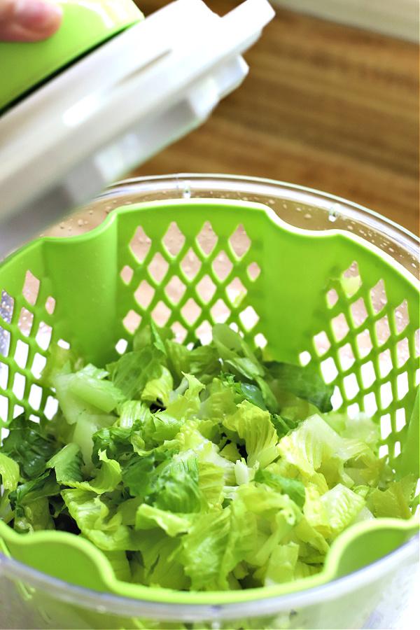 washing romaine lettuce for chicken pineapple mango Asian salad