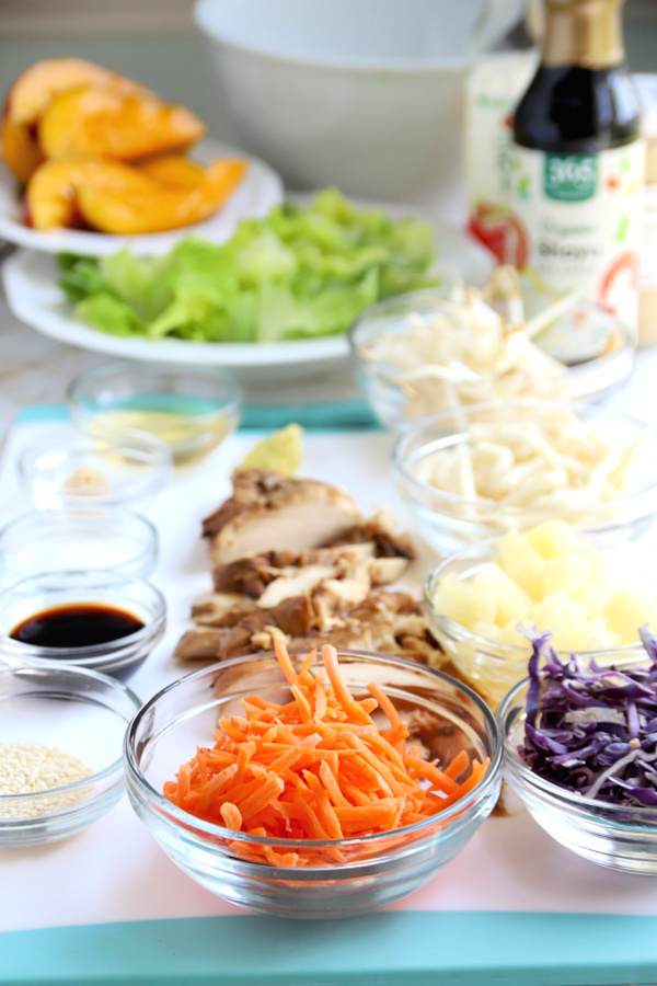 Ingredients for chicken pineapple mango Asian salad
