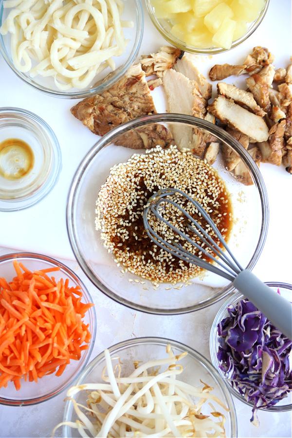 sesame seed dressing for chicken pineapple mango Asian salad