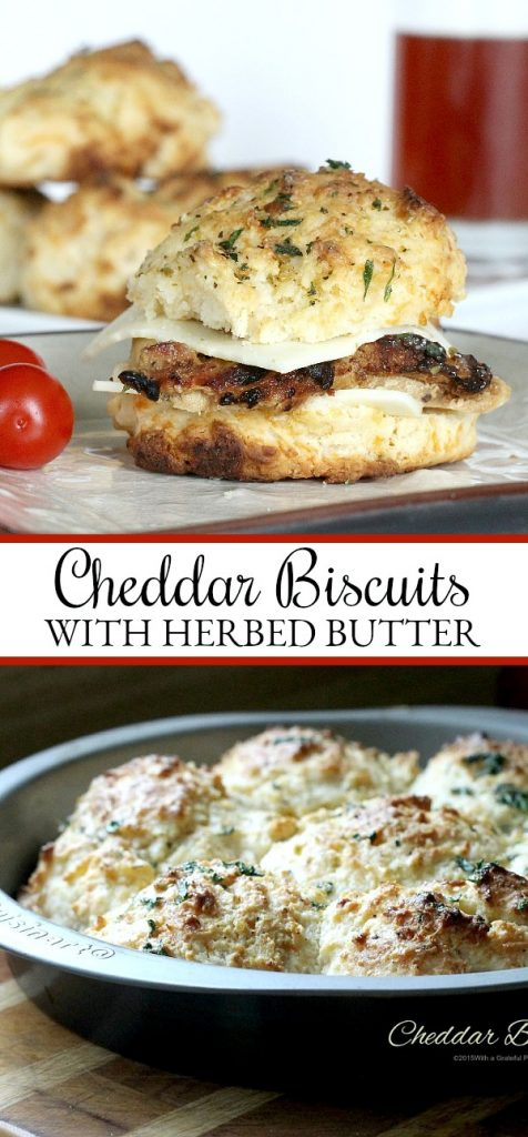 Easy recipe for homemade buttermilk cheddar cheese biscuits brushed with herb butter. Drop scoops of dough into pan and bake. No kneading or cutting involved.