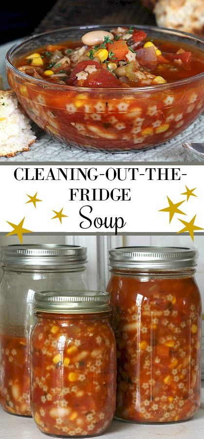 Cleaning-out-the-fridge soup is where frugality meets nutritious and delicious. You can make a great pot of soup using up left-overs and staples from your pantry all while keeping your fridge free of ghastly discoveries that come from foods left too long.