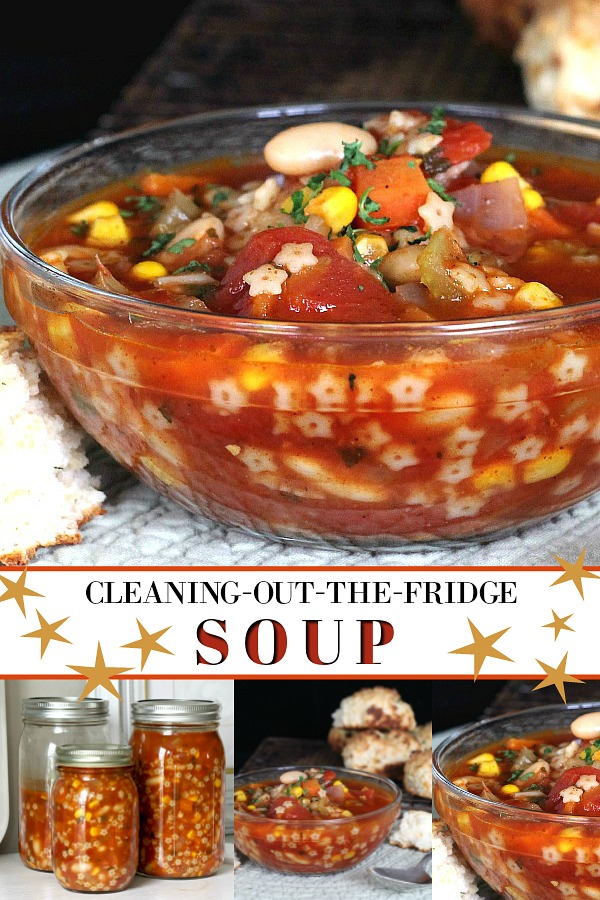 Easy, delicious and a great way to use the produce in the veggie bin before it goes bad. This easy recipe for Cleaning-out-the-fridge soup is a nutritious family favorite weeknight meal.