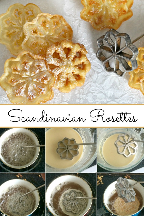 Easy recipe for Scandinavian Rosettes. Thin, cookie-like, deep-fried pastry treats are light and crispy. Perfect on your holiday cookie tray.