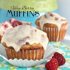 Very Berry Raspberry Muffins with Orange Glaze Frosting