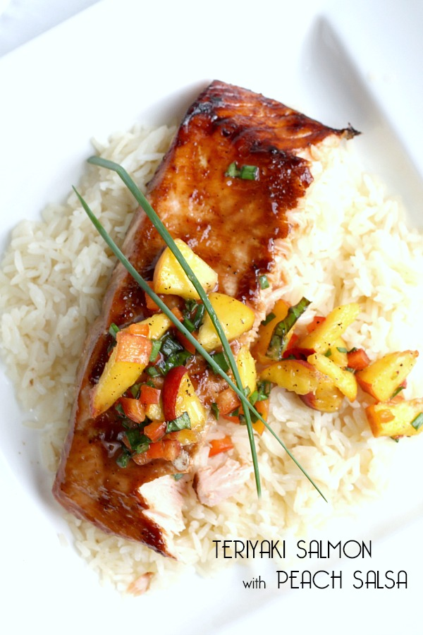 Easy recipe for Teriyaki salmon with peach salsa along a with recipe for homemade teriyaki sauce for a delicious dinnertime meal. Prep time less than 30 minutes (45 if making homemade teriyaki sauce).