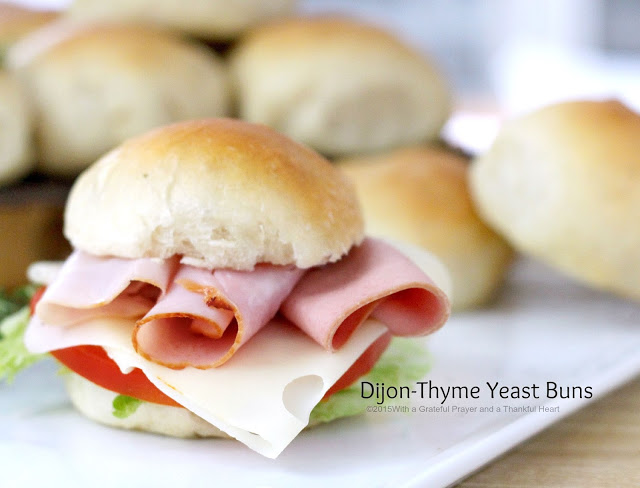 Easy recipe for Dijon Thyme Yeast Buns that are soft and fluffy and make the best deli sandwiches. Dough made in a bread maker.