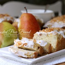 Frosted Pear Quick Bread with Toasted Coconut