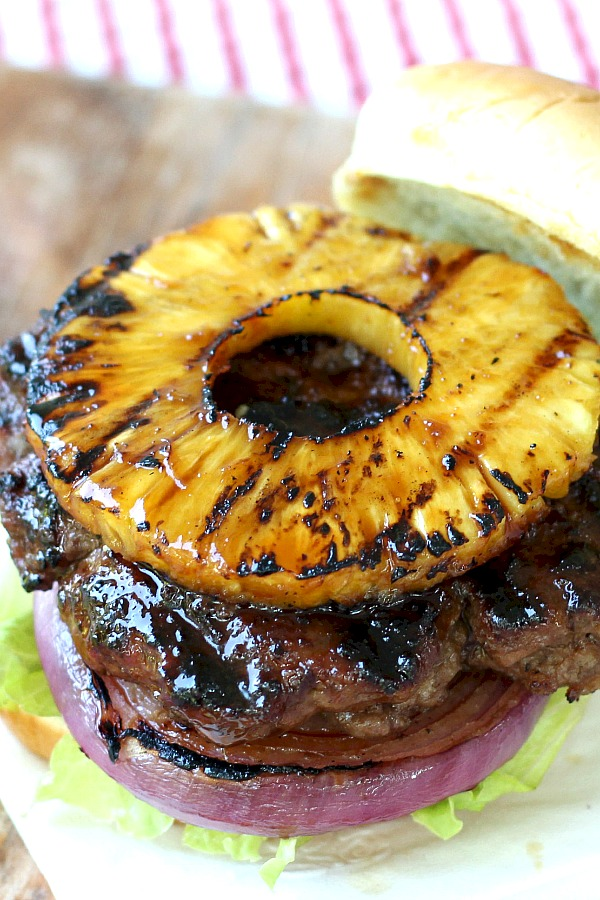 Homemade teriyaki sauce is amazing brushed on burgers, chicken or salmon. An easy recipe that gives so much flavor especially with grilled pineapple and red onion.
