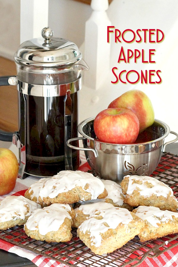 Easy recipe to make frosted apple scones. Brew a pot of coffee or tea and serve for breakfast or mid-morning snack. A great apple recipe with autumn flavors