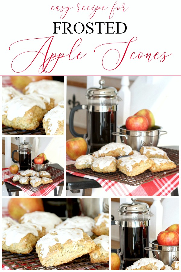 Easy recipe to make frosted apple scones. Brew a pot of coffee or tea and serve for breakfast or mid-morning snack